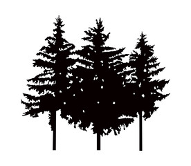 Image silhouette of three pine trees. Can be used as poster, badge, emblem, banner, sign, decor, icon...