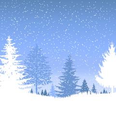 Landscape. Forest. Winter. It is snowing.