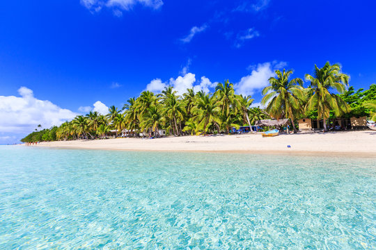 Beach on a tropical island with clear blue water. Dravuni Island, Fiji.