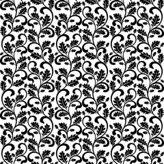Seamless pattern. Twisted branches with oak leaves isolated on a white background