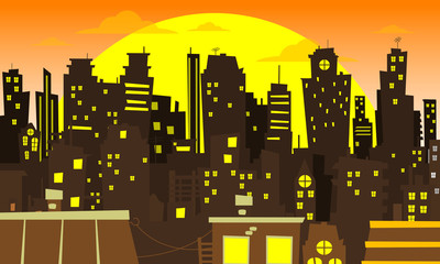 Evening cityscape vector illustration.