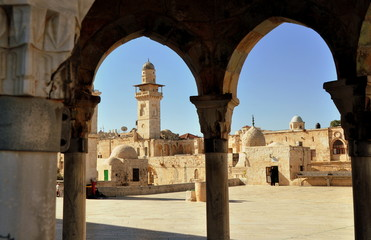 El-Asbat-Minarett im Westen des Tempelbergs von Jerusalem