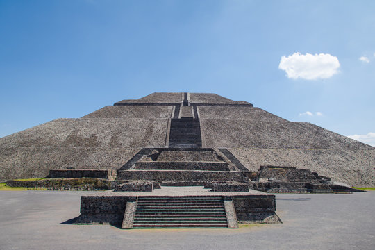 Frontal view of the Sun Pyramid at Teotihuacan Ruins - Mexico City, Mexico