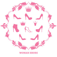 Set of woman shoes silhouettes with crowns in vintage frame.
