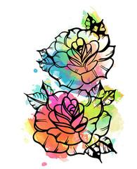эскиз татуировки пионовидной розы.акварель