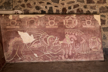 The Red Jaguar mural painting at Teotihuacan Ruins - Mexico City, Mexico