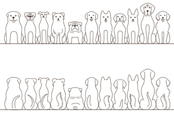 large dogs border set, front view and back view, line art
