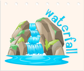 Word card with waterfall scene