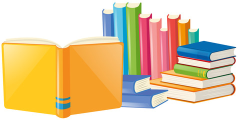 Books with many colors cover