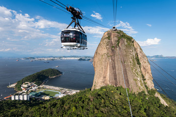 Wall Mural - Sugarloaf Mountain with the Cable Car, a Landmark of Rio de Janeiro, Brazil