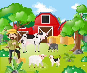 Farmer and farm animals in the field