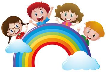 Door stickers Rainbow Four kids over the rainbow