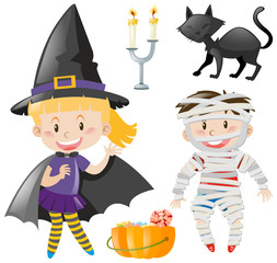 Kids in halloween outfit