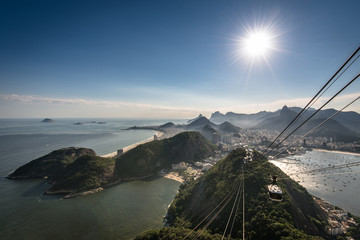 View of Rio de Janeiro city from the Sugarloaf Mountain with sun in the sky and a cable car approaching
