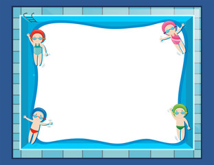 Border template with four kids swimming