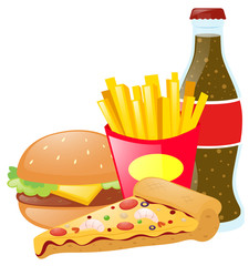 Fastfood and soda on white background