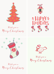 Merry Christmas and Happy New Year hand drawn card
