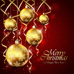 Red Christmas background with balls and golden tinsel