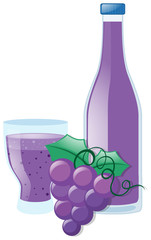 Grapes and juice in bottle