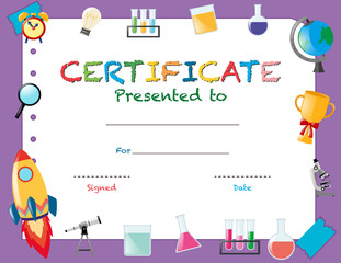 Certificate template with school objects