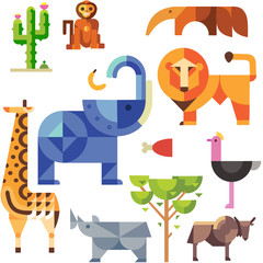africa, c, drawing, illustration funny collection safari isolated horse bear elephant