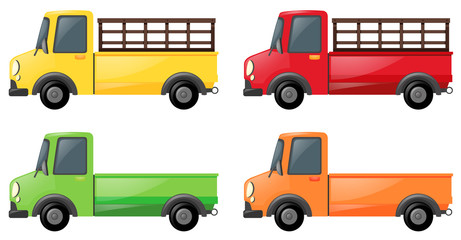 Pick up truck in four colors