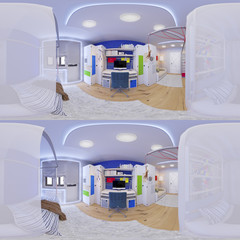 3d illustration spherical 360 degrees, seamless panorama of children's room interior design. Stereo 360 image for glasses  virtual reality.