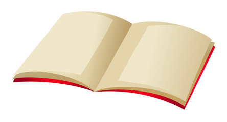 Book with blank page and red covers