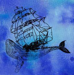 эскиз татуировки корабль и кит,акварель
