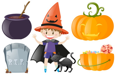 Halloween set with boy in costume and pumpkin