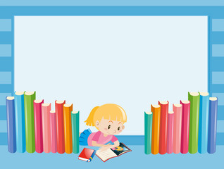 Border template with girl reading book