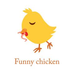 Cute cartoon yellow chicken with worm, vector, bird, illustrations, animal,  illustration on white background.