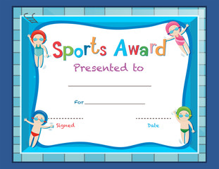 Certificate template with kids swimming