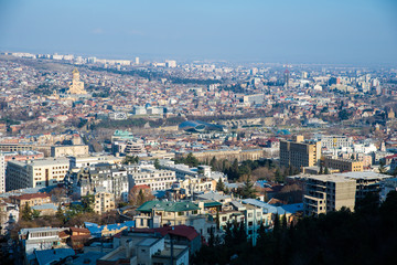 top view of a residential district in Tbilisi