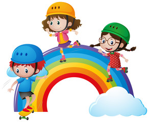 Three kids rollerskating over rainbow