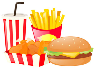 Lunch set with hamburger and fries