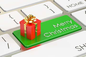 Merry Christmas concept green key on keyboard, 3D rendering