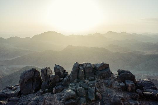 view from Mount Moses at Sinai Mountains at dawn