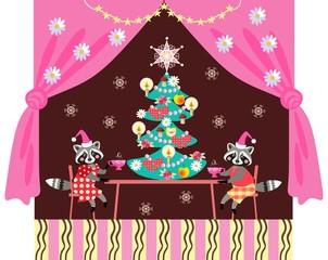 Merry Christmas! Cute raccoons drinking tea. Greeting card.