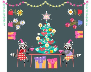 Merry Christmas! Cute raccoons drinking tea. Greeting card with animals, christmas tree, presents and plants.