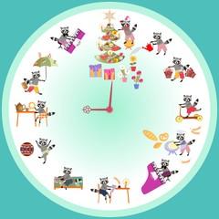 Clock with cute raccoons. Vector set of cartoon raccoons.