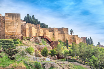 Walls of Alcazaba palatial fortress in Malaga built in 11th century, Andalusia, Spain
