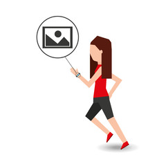 sport girl running with smart watch picture icon vector illustration eps 10