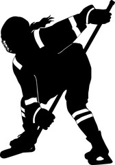 Female hockey player taking face off
