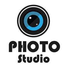 Logo photo studio design - photo lens text studio vector stock