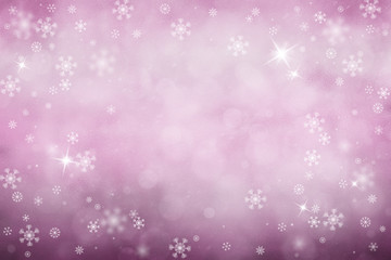 Artistic blurred pink colored Christmas decoration background with snowflakes and sparkle. Xmas and New year holiday illustration background with place for message.