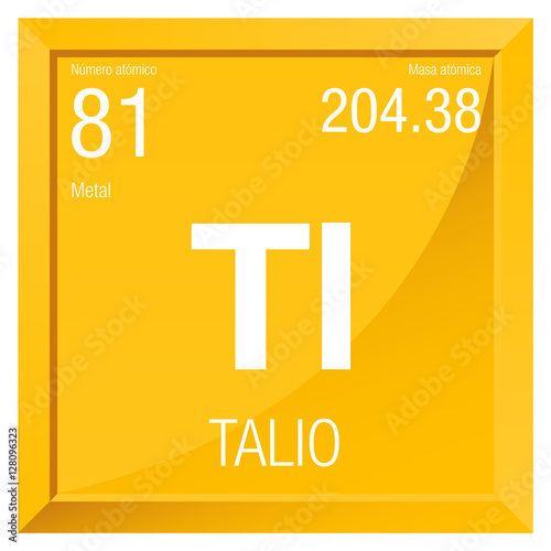 Talio Symbol Thallium In Spanish Language Element Number 81 Of