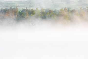 Light and fog at Loch Tulla, Highlands, Scotland, united kingdom