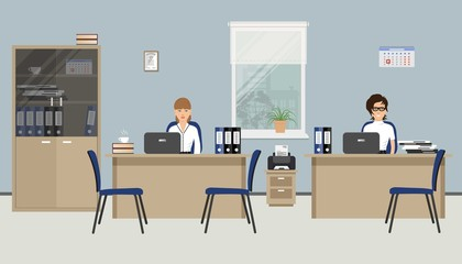 Web banner of two office workers. Two young women are employees at work. There is furniture in beige color and blue chairs on a windows background in the picture. Vector flat illustration
