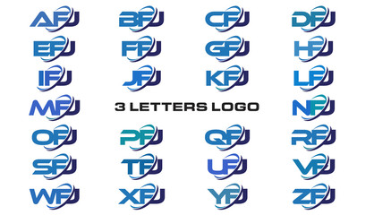 3 letters modern generic swoosh logo AFJ, BFJ, CFJ, DFJ, EFJ, FFJ, GFJ, HFJ, IFJ, JFJ, KFJ, LFJ, MFJ, NFJ, OFJ, PFJ, QFJ, RFJ, SFJ, TFJ, UFJ, VFJ, WFJ, XFJ, YFJ, ZFJ